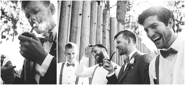 Fort Langley wedding groom smokes pipe