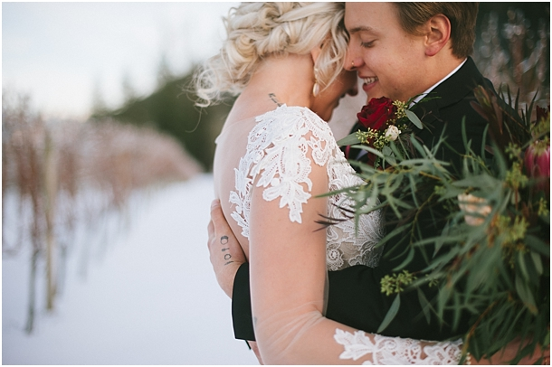 Bride and groom in the snow in Chilliwack